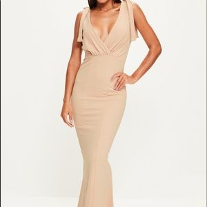 Nude Tie Shoulder Maxi Dress